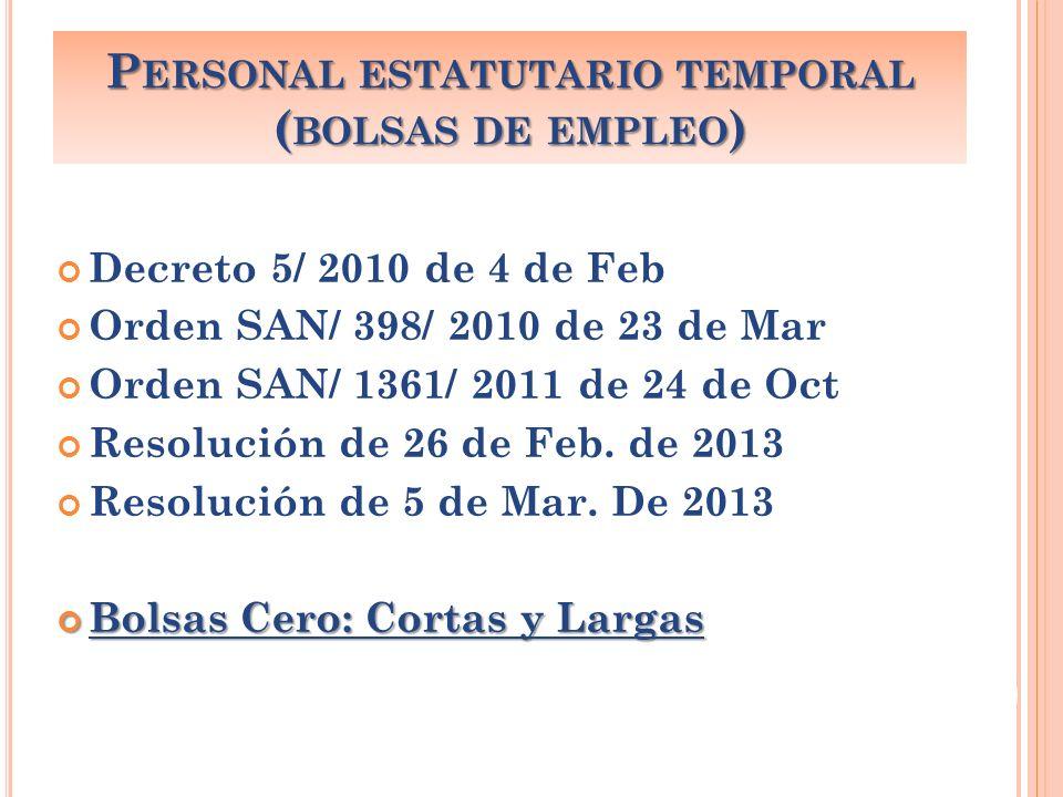 Concursos de Traslado: Art.36 y 37 del EJ y Orden SAN/ 1062/ 2010 de 13 de jul.