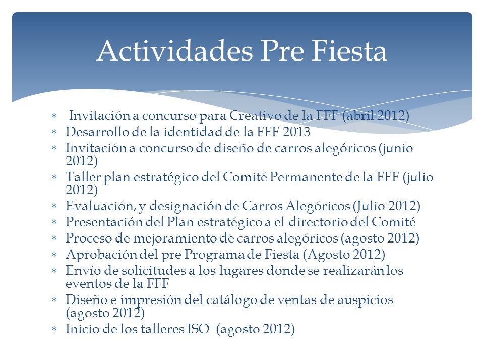 Invitación a concurso para Creativo de la FFF (abril 2012) Desarrollo de la identidad de la FFF 2013 Invitación a concurso de diseño de carros alegóricos (junio 2012) Taller plan estratégico del Comité Permanente de la FFF (julio 2012) Evaluación, y designación de Carros Alegóricos (Julio 2012) Presentación del Plan estratégico a el directorio del Comité Proceso de mejoramiento de carros alegóricos (agosto 2012) Aprobación del pre Programa de Fiesta (Agosto 2012) Envío de solicitudes a los lugares donde se realizarán los eventos de la FFF Diseño e impresión del catálogo de ventas de auspicios (agosto 2012) Inicio de los talleres ISO (agosto 2012) Actividades Pre Fiesta