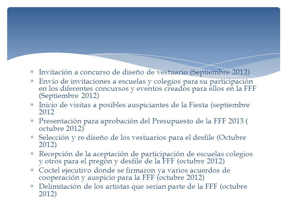 Invitación a concurso de diseño de vestuario (Septiembre 2012) Envío de invitaciones a escuelas y colegios para su participación en los diferentes concursos y eventos creados para ellos en la FFF (Septiembre 2012) Inicio de visitas a posibles auspiciantes de la Fiesta (septiembre 2012 Presentación para aprobación del Presupuesto de la FFF 2013 ( octubre 2012) Selección y re diseño de los vestuarios para el desfile (Octubre 2012) Recepción de la aceptación de participación de escuelas colegios y otros para el pregón y desfile de la FFF (octubre 2012) Coctel ejecutivo donde se firmaron ya varios acuerdos de cooperación y auspicio para la FFF (octubre 2012) Delimitación de los artistas que serían parte de la FFF (octubre 2012)