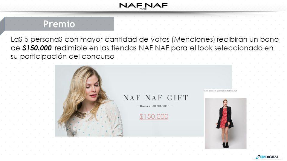 LaS 5 personaS con mayor cantidad de votos (Menciones) recibirán un bono de $150.000 redimible en las tiendas NAF NAF para el look seleccionado en su
