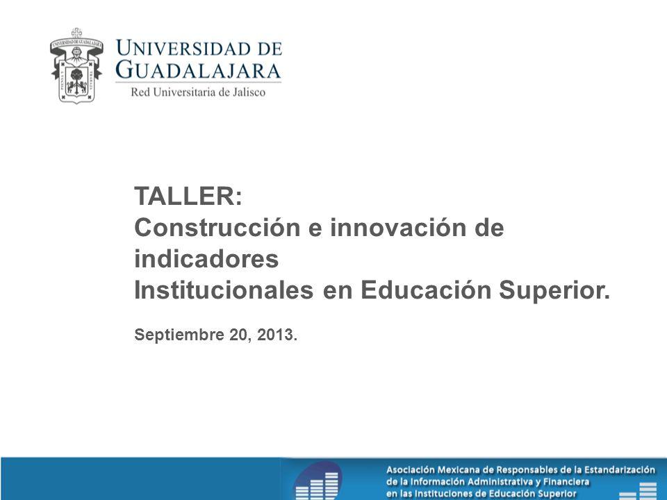 TALLER: Construcción e innovación de indicadores Institucionales en Educación Superior. Septiembre 20, 2013.