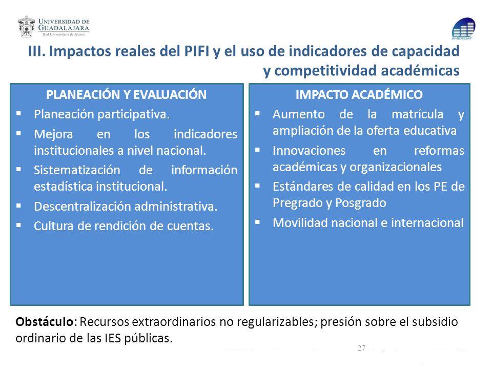 III. Impactos reales del PIFI y el uso de indicadores de capacidad y competitividad académicas PLANEACIÓN Y EVALUACIÓN Planeación participativa. Mejor