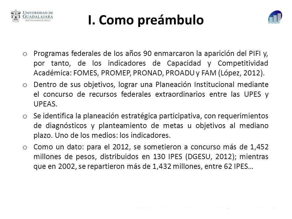 I. Como preámbulo o Programas federales de los años 90 enmarcaron la aparición del PIFI y, por tanto, de los indicadores de Capacidad y Competitividad