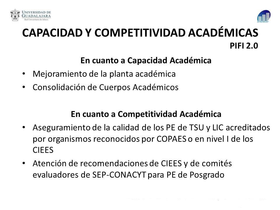 CAPACIDAD Y COMPETITIVIDAD ACADÉMICAS PIFI 2.0 En cuanto a Capacidad Académica Mejoramiento de la planta académica Consolidación de Cuerpos Académicos