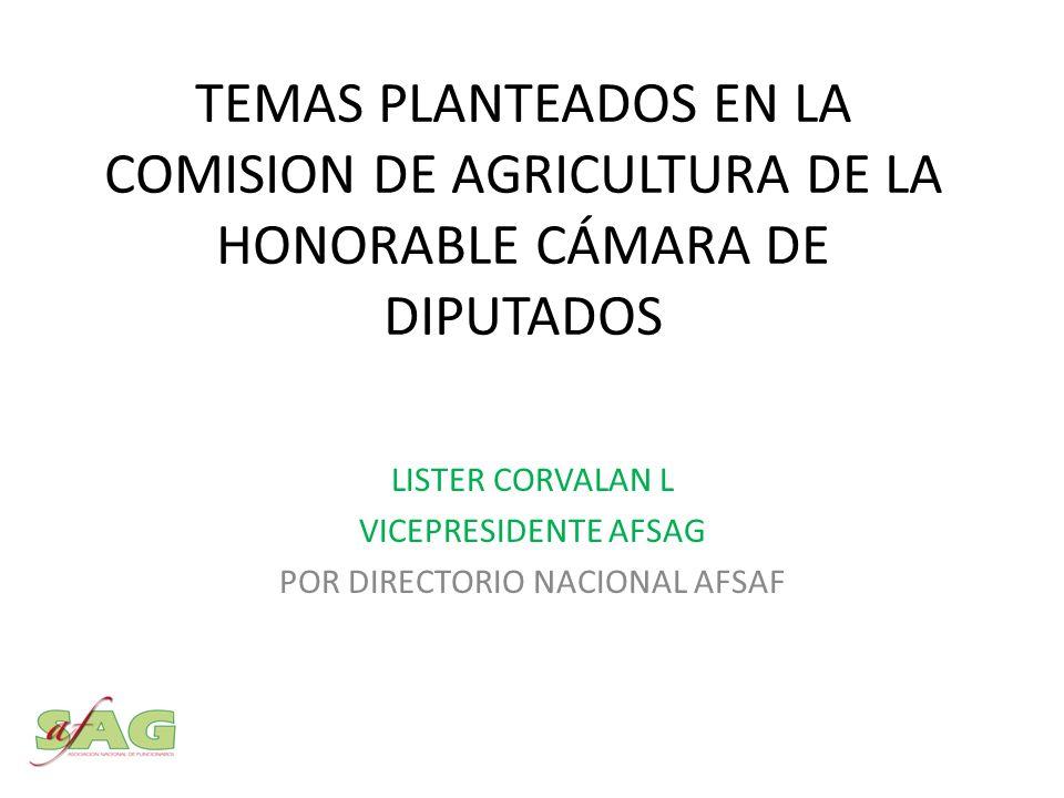 TEMAS PLANTEADOS EN LA COMISION DE AGRICULTURA DE LA HONORABLE CÁMARA DE DIPUTADOS LISTER CORVALAN L VICEPRESIDENTE AFSAG POR DIRECTORIO NACIONAL AFSAF