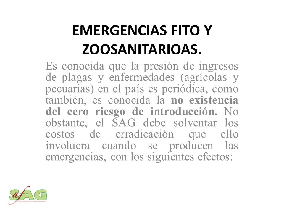 EMERGENCIAS FITO Y ZOOSANITARIOAS.