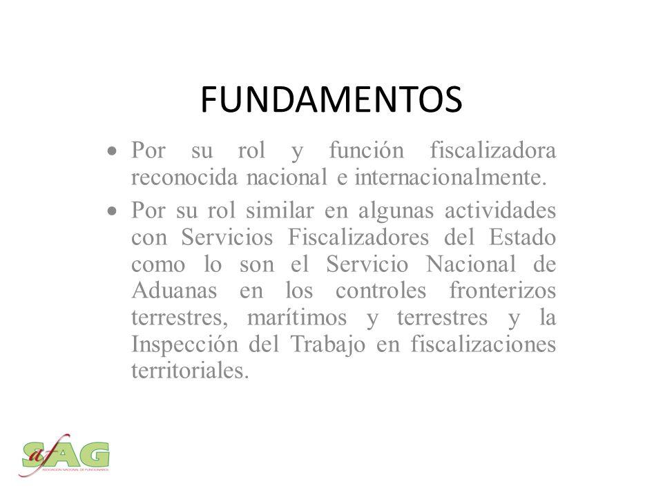 FUNDAMENTOS Por su rol y función fiscalizadora reconocida nacional e internacionalmente.