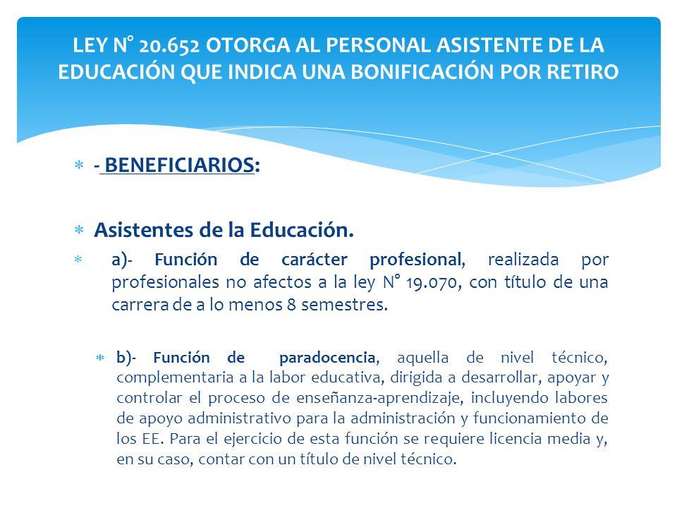 - BENEFICIARIOS: Asistentes de la Educación. a)- Función de carácter profesional, realizada por profesionales no afectos a la ley N° 19.070, con títul