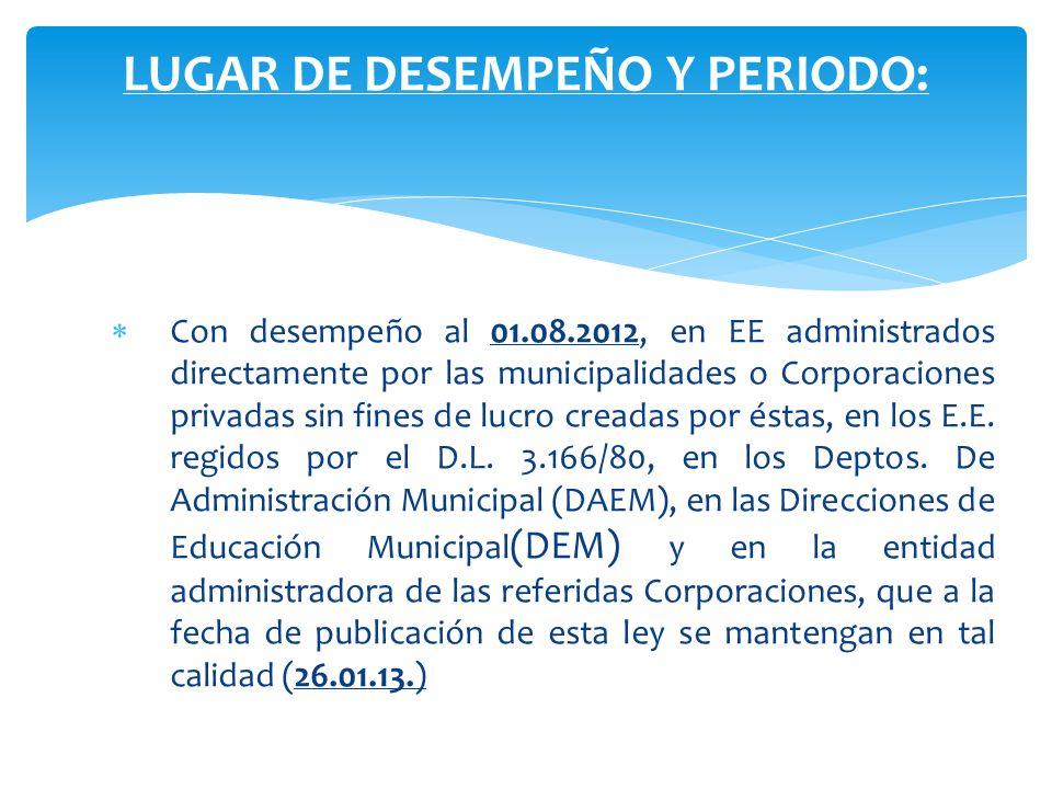 Con desempeño al 01.08.2012, en EE administrados directamente por las municipalidades o Corporaciones privadas sin fines de lucro creadas por éstas, e