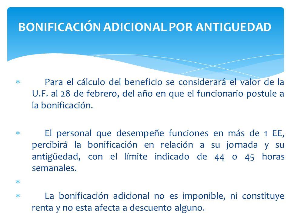 Para el cálculo del beneficio se considerará el valor de la U.F. al 28 de febrero, del año en que el funcionario postule a la bonificación. El persona