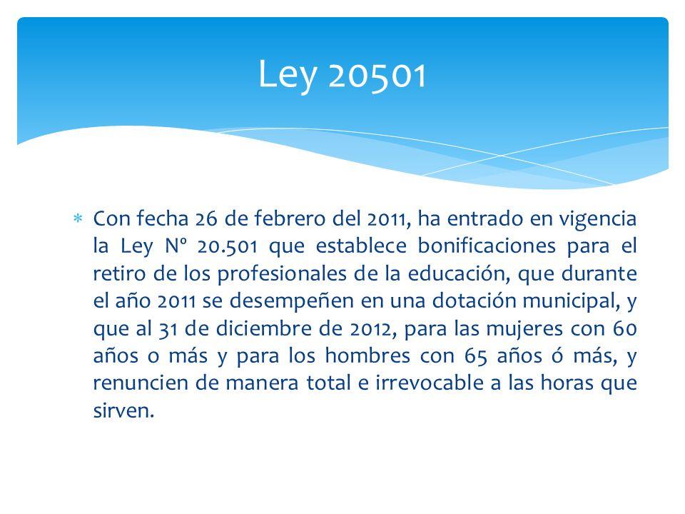 Ley 20501 Con fecha 26 de febrero del 2011, ha entrado en vigencia la Ley Nº 20.501 que establece bonificaciones para el retiro de los profesionales d