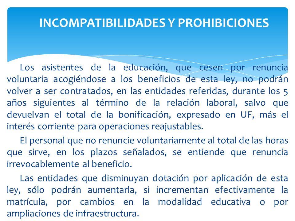 Los asistentes de la educación, que cesen por renuncia voluntaria acogiéndose a los beneficios de esta ley, no podrán volver a ser contratados, en las
