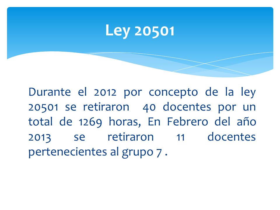 Ley 20501 Durante el 2012 por concepto de la ley 20501 se retiraron 40 docentes por un total de 1269 horas, En Febrero del año 2013 se retiraron 11 do