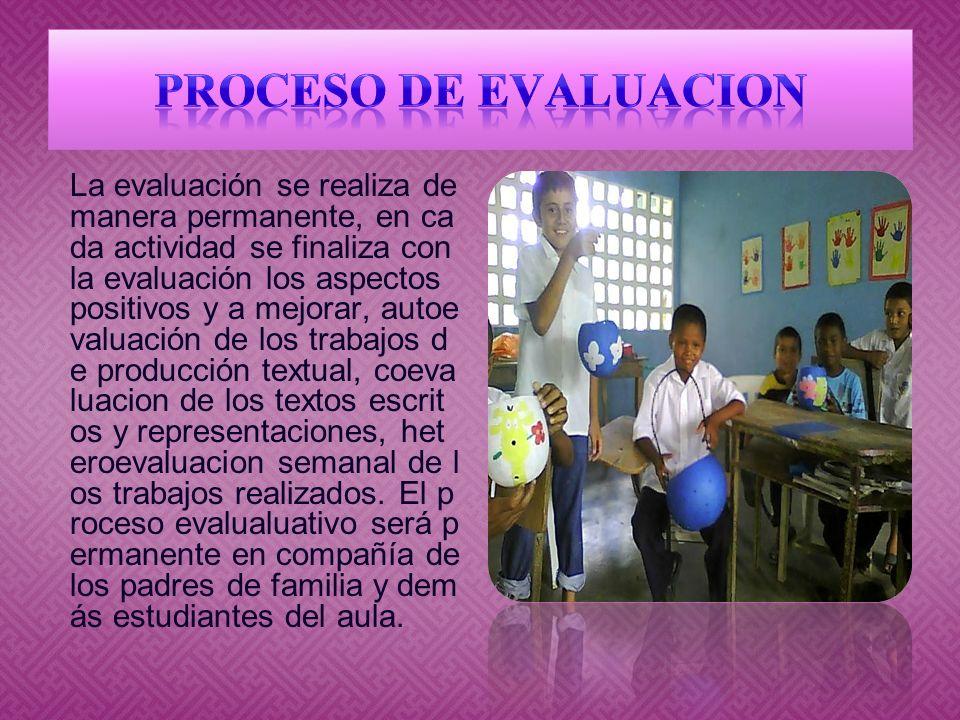 La evaluación se realiza de manera permanente, en ca da actividad se finaliza con la evaluación los aspectos positivos y a mejorar, autoe valuación de