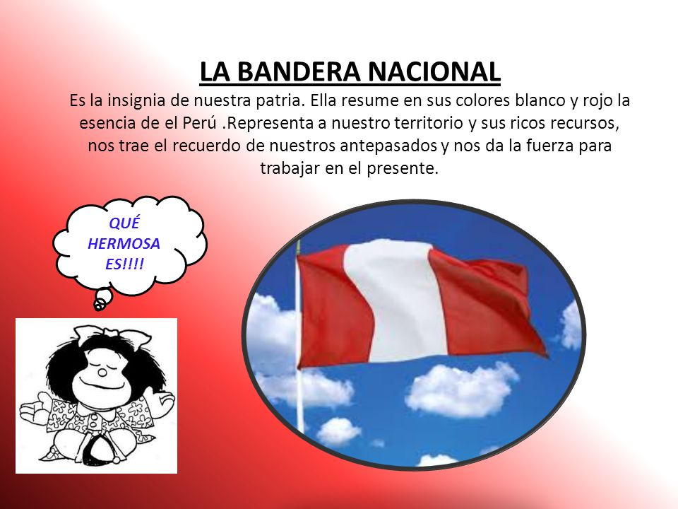 los símbolos de nuestra patria son: BANDERA NACIONAL ESCUDO NACIONAL HIMNO NACIONAL