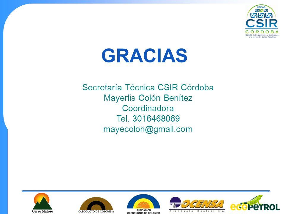 GRACIAS Secretaría Técnica CSIR Córdoba Mayerlis Colón Benítez Coordinadora Tel. 3016468069 mayecolon@gmail.com