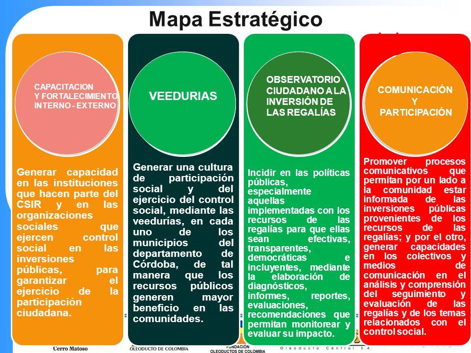 Mapa Estratégico Objetivo: Generar capacidad en las instituciones que hacen parte del CSIR y en las organizaciones sociales que ejercen control social en las inversiones públicas, para garantizar el ejercicio de la participación ciudadana.