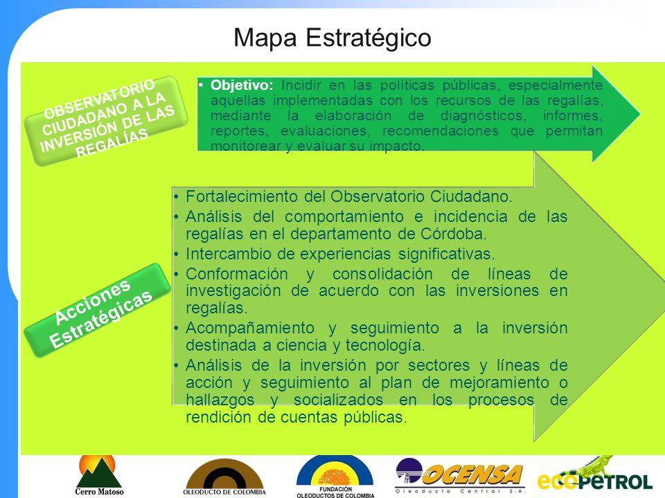 Mapa Estratégico Objetivo: Generar una cultura de participación social y del ejercicio del control social en cada uno de los municipios del departamento de Córdoba, de tal manera que los recursos públicos generen mayor beneficio en las comunidades.