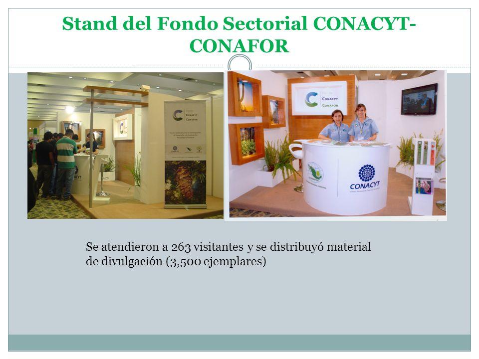 Stand del Fondo Sectorial CONACYT- CONAFOR Se atendieron a 263 visitantes y se distribuyó material de divulgación (3,500 ejemplares)