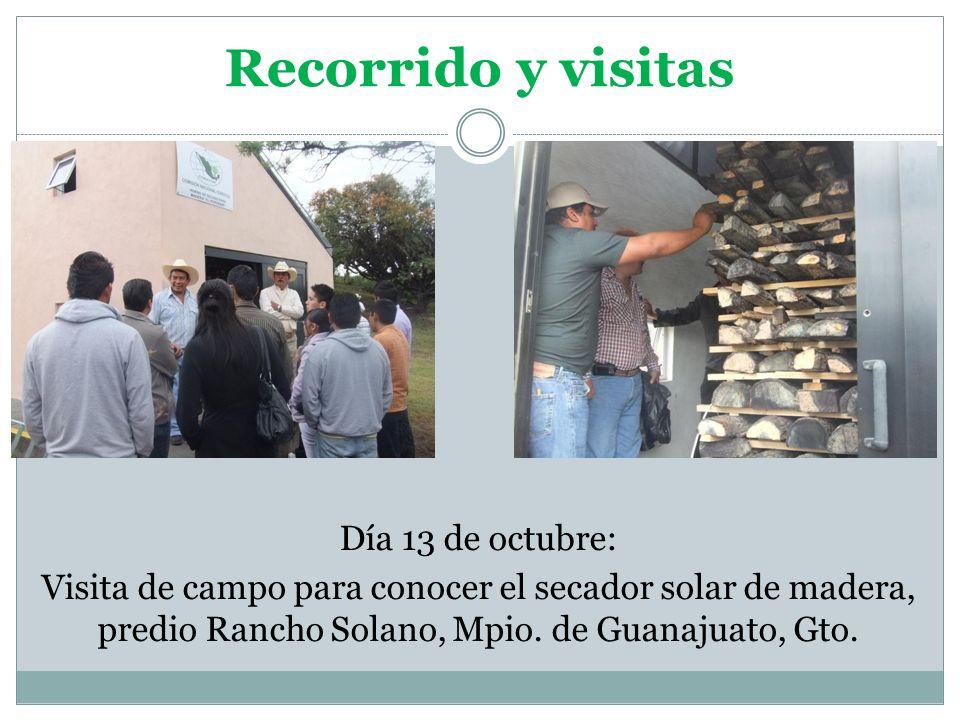Recorrido y visitas Día 13 de octubre: Visita de campo para conocer el secador solar de madera, predio Rancho Solano, Mpio. de Guanajuato, Gto.
