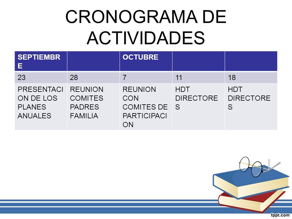 CRONOGRAMA DE ACTIVIDADES SEPTIEMBR E OCTUBRE 232871118 PRESENTACI ON DE LOS PLANES ANUALES REUNION COMITES PADRES FAMILIA REUNION CON COMITES DE PART