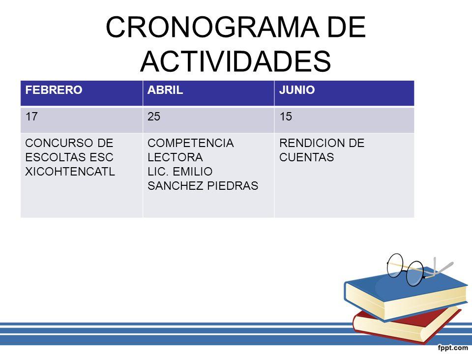 CRONOGRAMA DE ACTIVIDADES FEBREROABRILJUNIO 172515 CONCURSO DE ESCOLTAS ESC XICOHTENCATL COMPETENCIA LECTORA LIC. EMILIO SANCHEZ PIEDRAS RENDICION DE