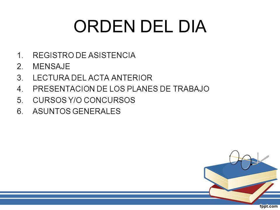 ORDEN DEL DIA 1.REGISTRO DE ASISTENCIA 2.MENSAJE 3.LECTURA DEL ACTA ANTERIOR 4.PRESENTACION DE LOS PLANES DE TRABAJO 5.CURSOS Y/O CONCURSOS 6.ASUNTOS