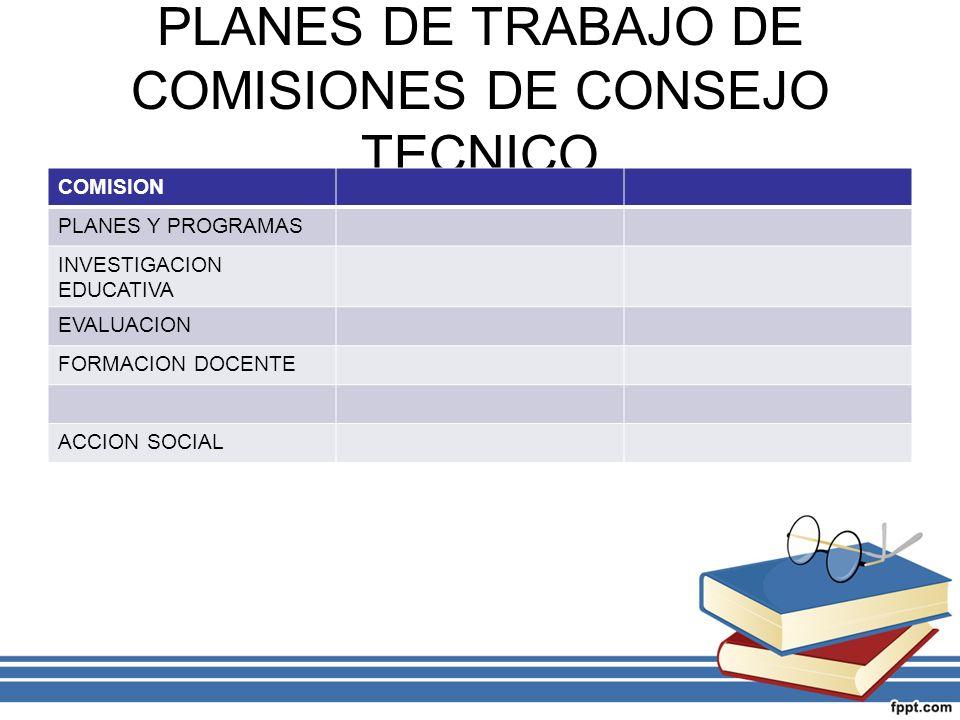 PLANES DE TRABAJO DE COMISIONES DE CONSEJO TECNICO COMISION PLANES Y PROGRAMAS INVESTIGACION EDUCATIVA EVALUACION FORMACION DOCENTE ACCION SOCIAL