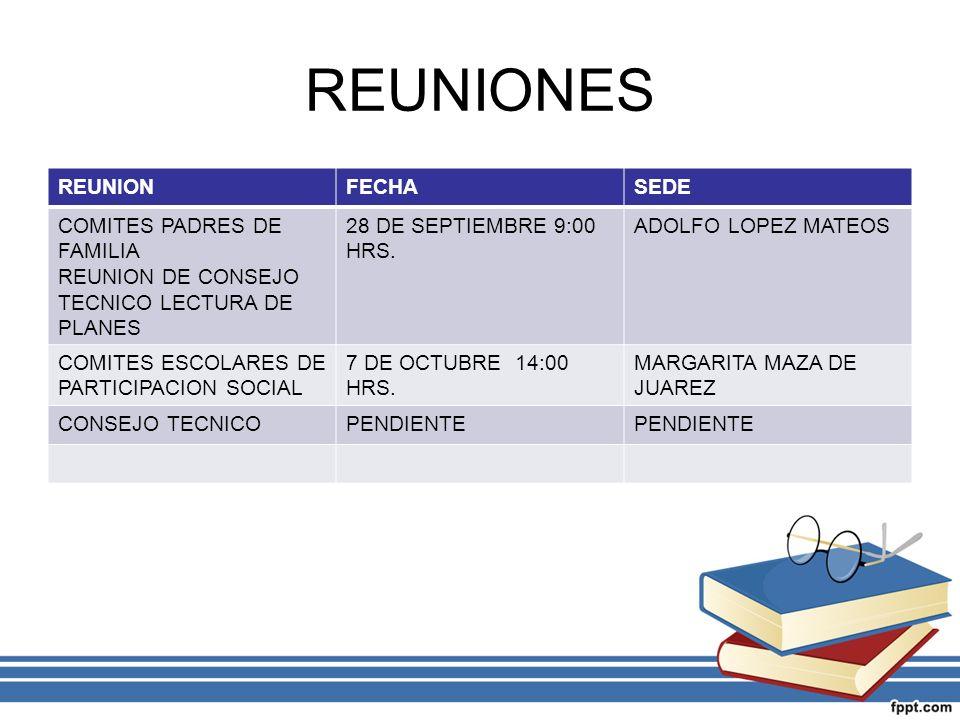 REUNIONES REUNIONFECHASEDE COMITES PADRES DE FAMILIA REUNION DE CONSEJO TECNICO LECTURA DE PLANES 28 DE SEPTIEMBRE 9:00 HRS. ADOLFO LOPEZ MATEOS COMIT