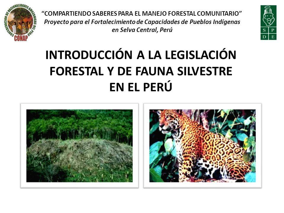 INTRODUCCIÓN A LA LEGISLACIÓN FORESTAL Y DE FAUNA SILVESTRE EN EL PERÚ COMPARTIENDO SABERES PARA EL MANEJO FORESTAL COMUNITARIO Proyecto para el Fortalecimiento de Capacidades de Pueblos Indígenas en Selva Central, Perú