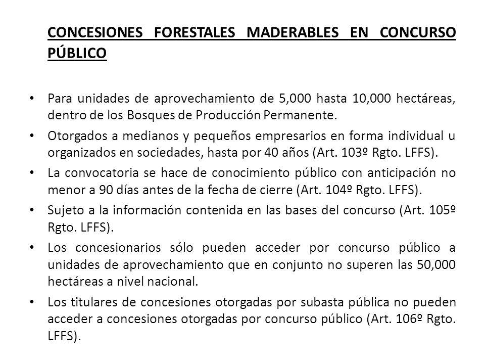 CONCESIONES FORESTALES MADERABLES EN CONCURSO PÚBLICO Para unidades de aprovechamiento de 5,000 hasta 10,000 hectáreas, dentro de los Bosques de Producción Permanente.