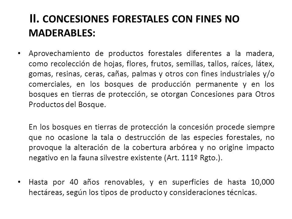 II. CONCESIONES FORESTALES CON FINES NO MADERABLES: Aprovechamiento de productos forestales diferentes a la madera, como recolección de hojas, flores,