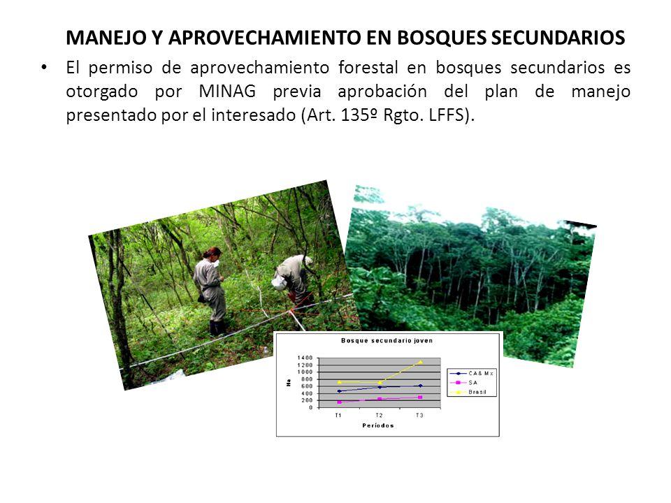 MANEJO Y APROVECHAMIENTO EN BOSQUES SECUNDARIOS El permiso de aprovechamiento forestal en bosques secundarios es otorgado por MINAG previa aprobación del plan de manejo presentado por el interesado (Art.