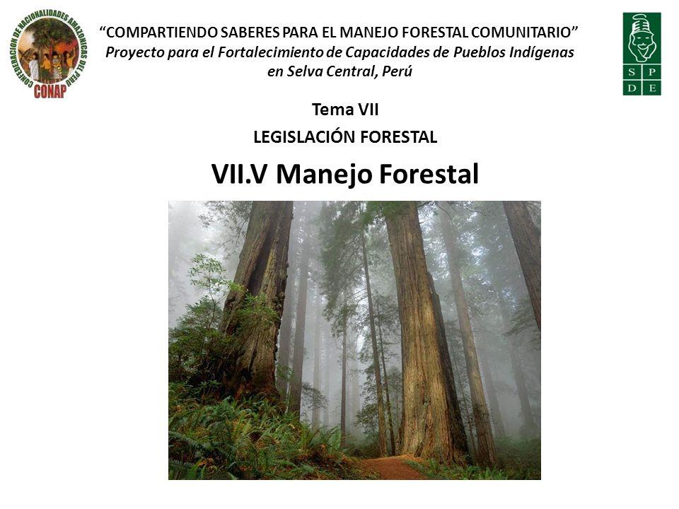 Tema VII LEGISLACIÓN FORESTAL VII.V Manejo Forestal COMPARTIENDO SABERES PARA EL MANEJO FORESTAL COMUNITARIO Proyecto para el Fortalecimiento de Capacidades de Pueblos Indígenas en Selva Central, Perú