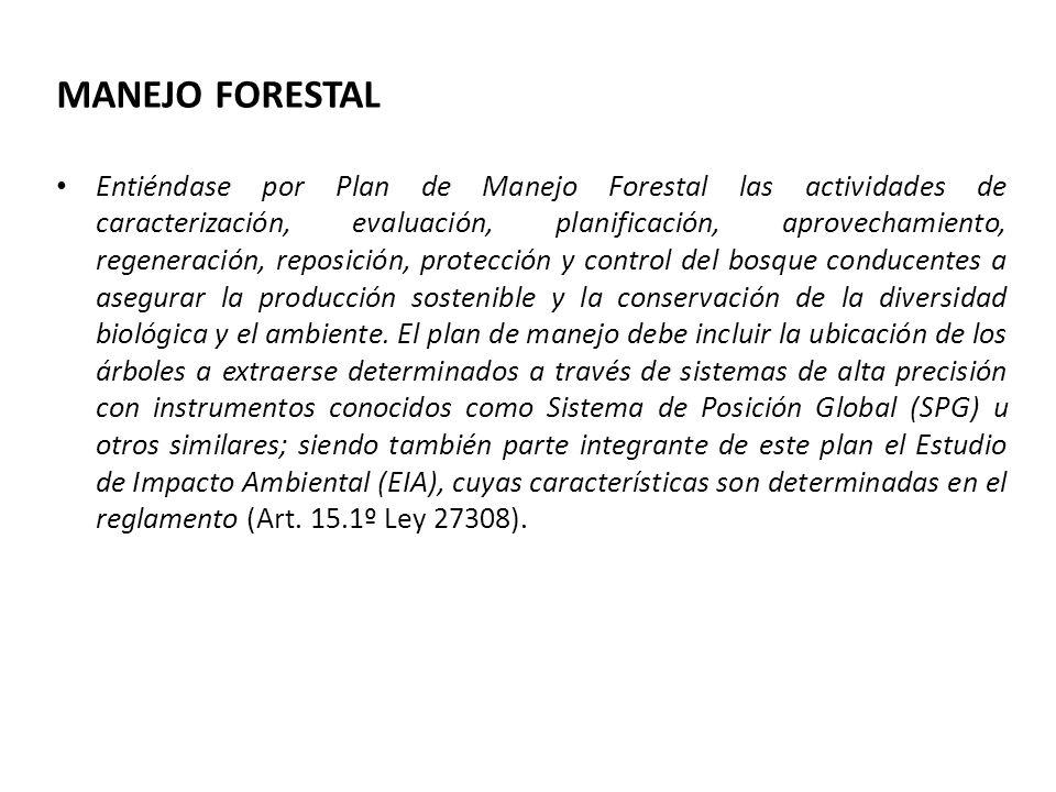 MANEJO FORESTAL Entiéndase por Plan de Manejo Forestal las actividades de caracterización, evaluación, planificación, aprovechamiento, regeneración, reposición, protección y control del bosque conducentes a asegurar la producción sostenible y la conservación de la diversidad biológica y el ambiente.