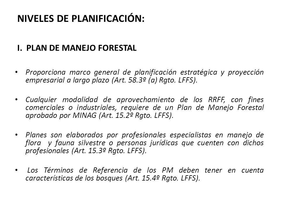 I. PLAN DE MANEJO FORESTAL Proporciona marco general de planificación estratégica y proyección empresarial a largo plazo (Art. 58.3º (a) Rgto. LFFS).
