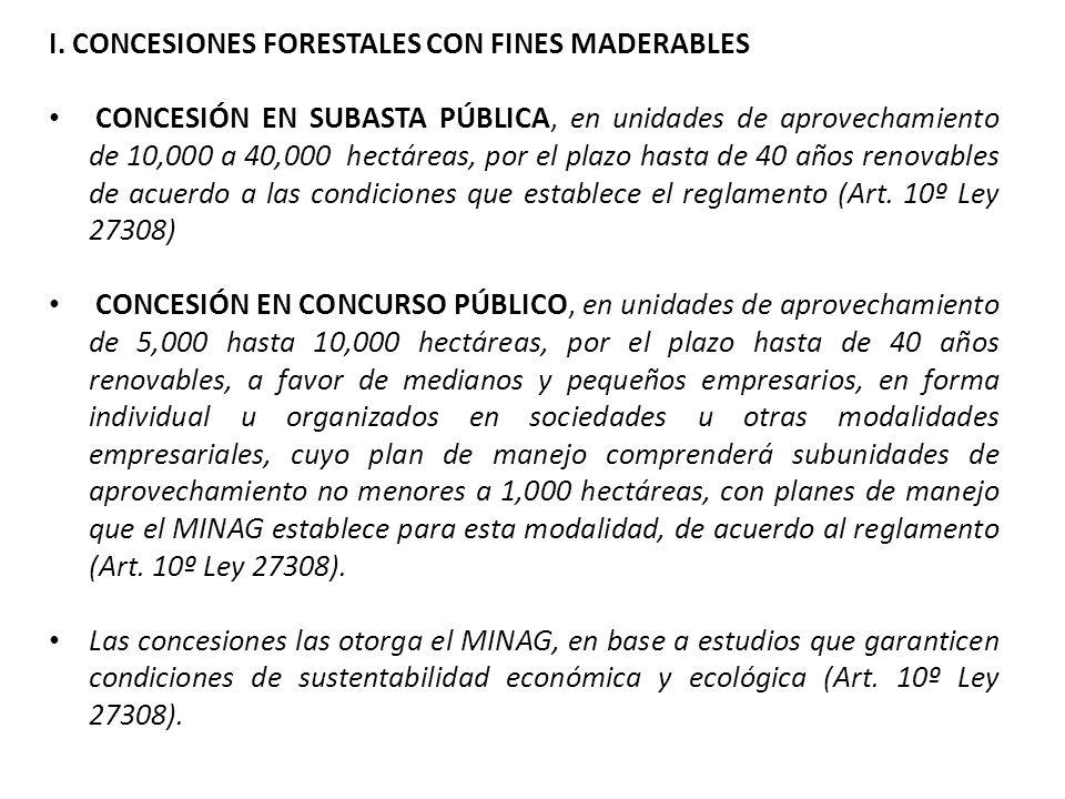 I. CONCESIONES FORESTALES CON FINES MADERABLES CONCESIÓN EN SUBASTA PÚBLICA, en unidades de aprovechamiento de 10,000 a 40,000 hectáreas, por el plazo