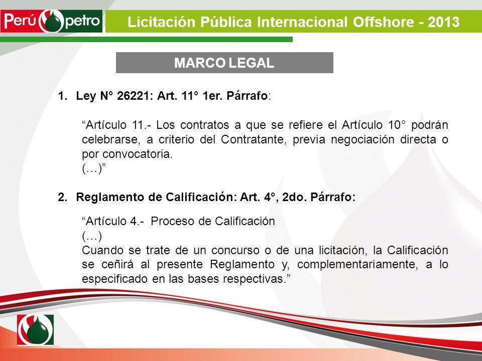 1.Ley N° 26221: Art. 11° 1er. Párrafo: Artículo 11.- Los contratos a que se refiere el Artículo 10° podrán celebrarse, a criterio del Contratante, pre