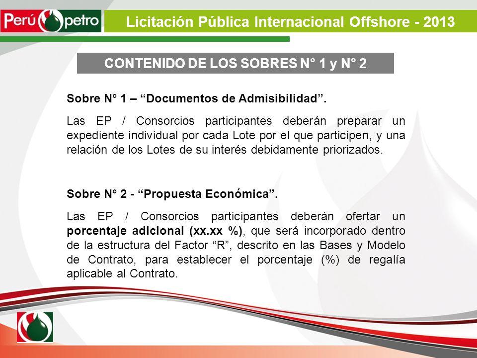 Sobre N° 1 – Documentos de Admisibilidad. Las EP / Consorcios participantes deberán preparar un expediente individual por cada Lote por el que partici