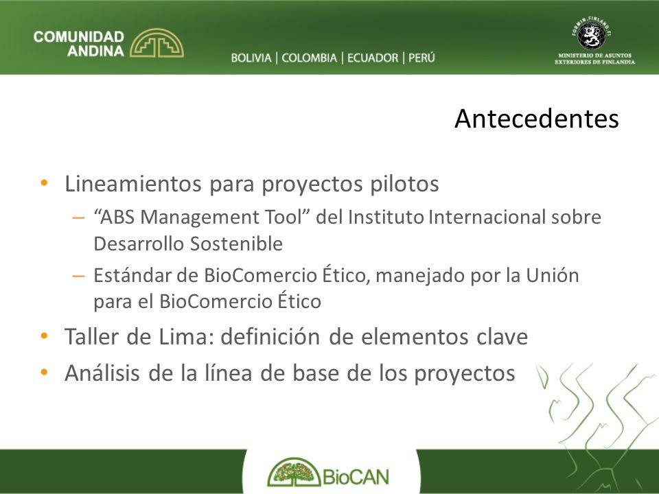 Antecedentes Lineamientos para proyectos pilotos – ABS Management Tool del Instituto Internacional sobre Desarrollo Sostenible – Estándar de BioComercio Ético, manejado por la Unión para el BioComercio Ético Taller de Lima: definición de elementos clave Análisis de la línea de base de los proyectos