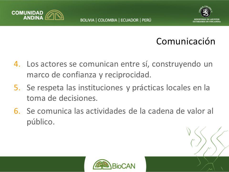 Comunicación 4.Los actores se comunican entre sí, construyendo un marco de confianza y reciprocidad.
