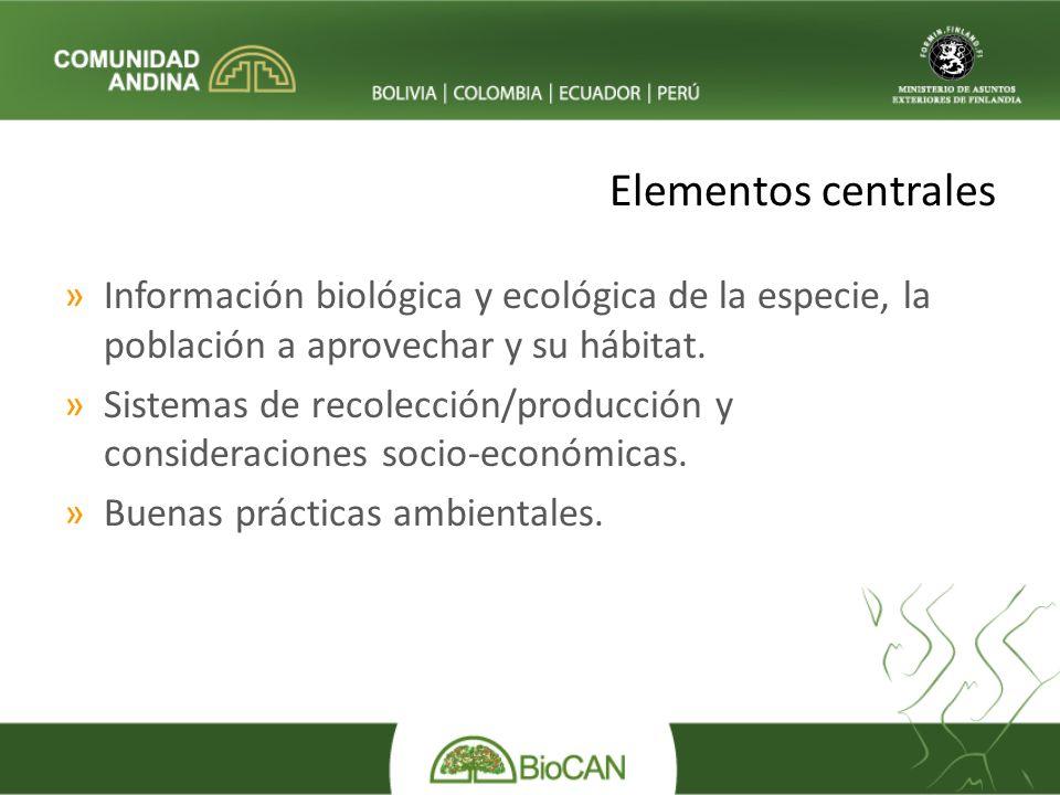Elementos centrales »Información biológica y ecológica de la especie, la población a aprovechar y su hábitat.
