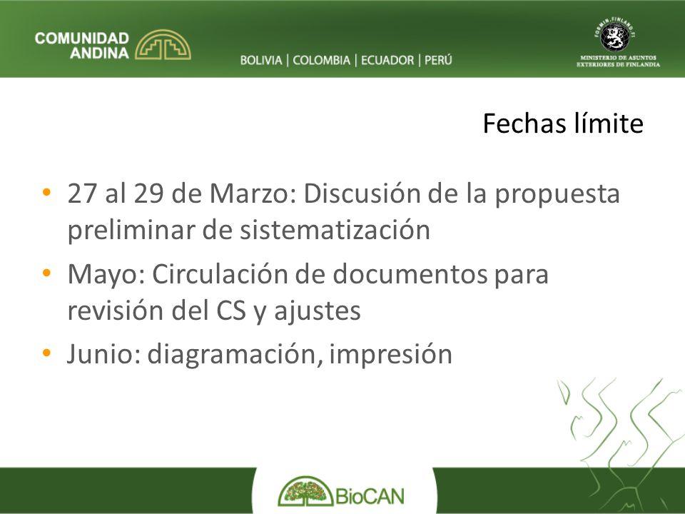 Fechas límite 27 al 29 de Marzo: Discusión de la propuesta preliminar de sistematización Mayo: Circulación de documentos para revisión del CS y ajustes Junio: diagramación, impresión