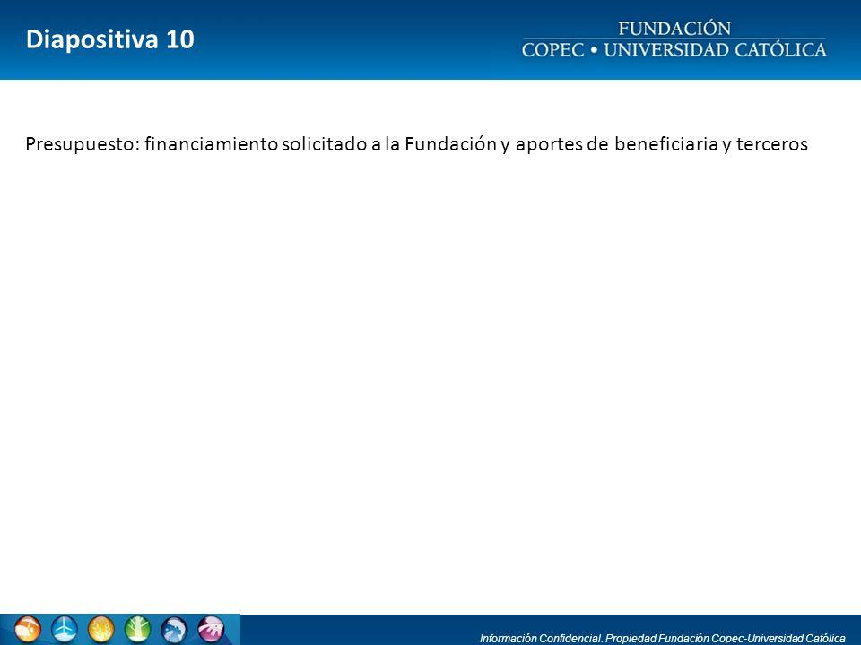 Información Confidencial. Propiedad Fundación Copec-Universidad Católica Diapositiva 10 Presupuesto: financiamiento solicitado a la Fundación y aporte