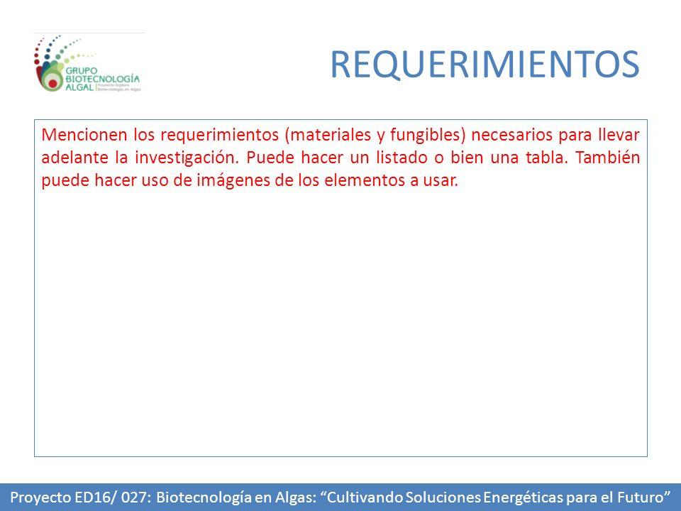 REQUERIMIENTOS Mencionen los requerimientos (materiales y fungibles) necesarios para llevar adelante la investigación.
