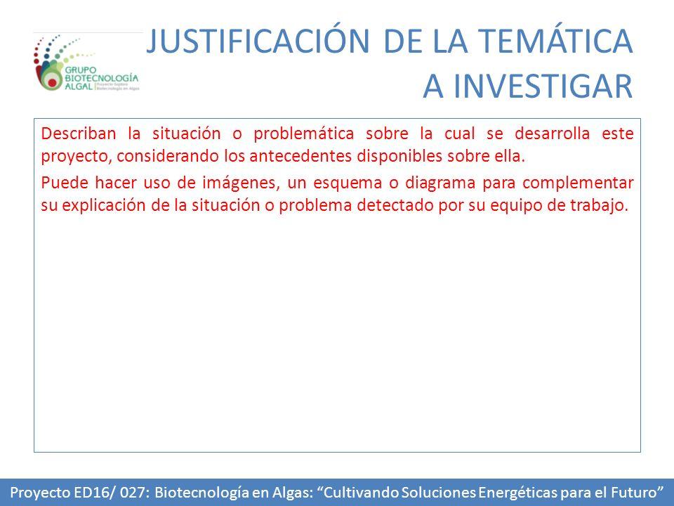 JUSTIFICACIÓN DE LA TEMÁTICA A INVESTIGAR Describan la situación o problemática sobre la cual se desarrolla este proyecto, considerando los antecedentes disponibles sobre ella.