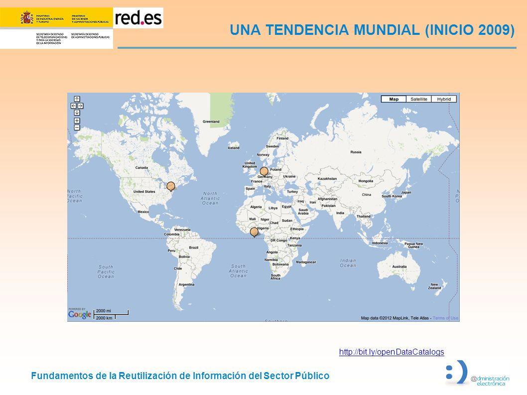 Fundamentos de la Reutilización de Información del Sector Público UNA TENDENCIA MUNDIAL (INICIO 2009) http://bit.ly/openDataCatalogs