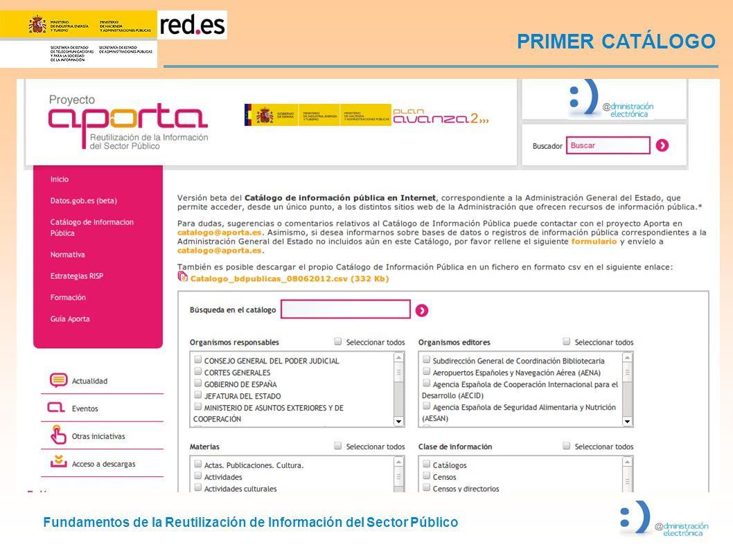 Fundamentos de la Reutilización de Información del Sector Público PRIMER CATÁLOGO