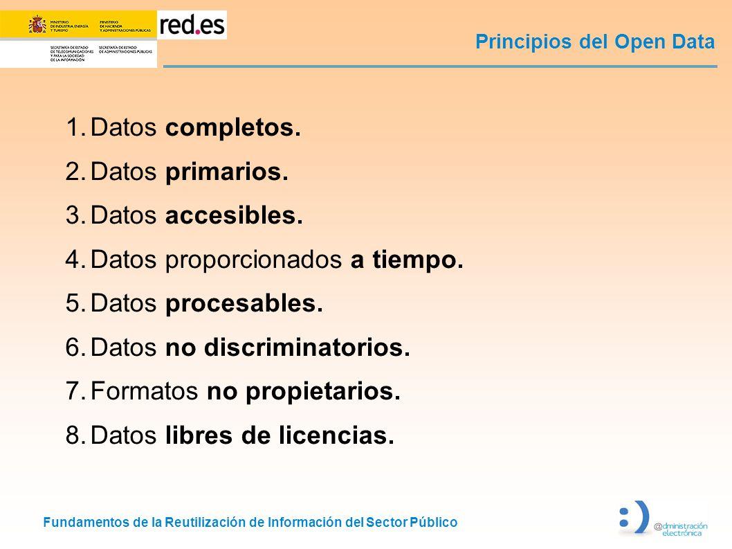 Fundamentos de la Reutilización de Información del Sector Público Principios del Open Data 1.Datos completos. 2.Datos primarios. 3.Datos accesibles. 4