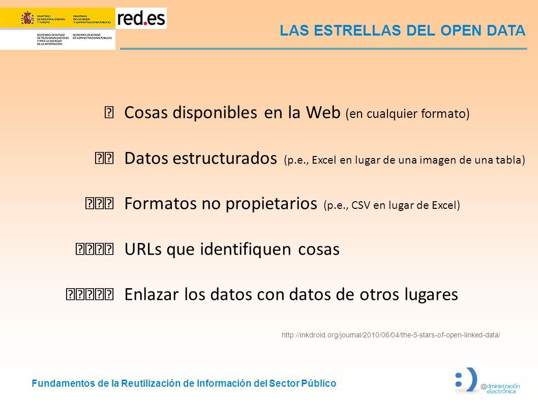 Fundamentos de la Reutilización de Información del Sector Público LAS ESTRELLAS DEL OPEN DATA http://inkdroid.org/journal/2010/06/04/the-5-stars-of-op